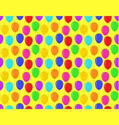 color balloons yellow background bright seamless vector image