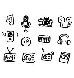 doodle series media vector image vector image
