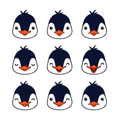 emoticon cute penguin emotion faces vector image