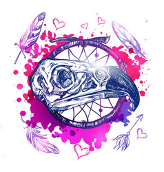 skull eagle boho tattoo vector image