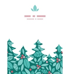 christmas holly berries Christmas tree silhouette vector image