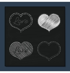 Collection of White Hearts on Chalkboard vector image