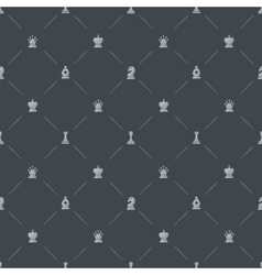 Gray luxury seamless pattern with chess symbols vector image