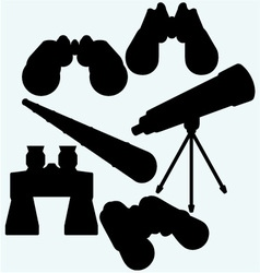 Binoculars spyglass and telescope in tripod vector image