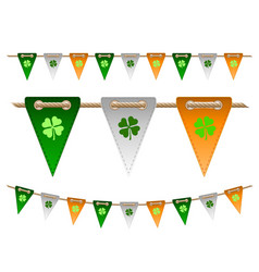 colorful festive flags with clovers vector image