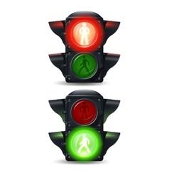 Pedestrian Traffic Lights Set vector image