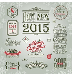 set of christmas and new year design elements vector image
