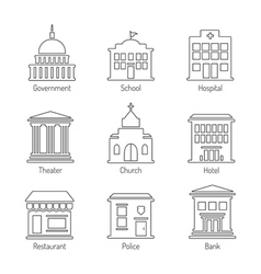 Government building outline icons set vector image vector image