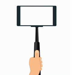 monopod in hand taking selfie on a mobile phone vector image vector image