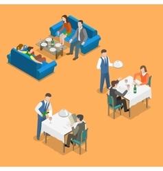 Restaurant service isometric flat concept vector