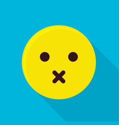 silent emoticon icon flat style vector image