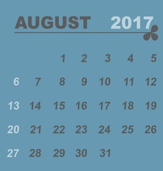 Simple calendar template of august 2017 vector