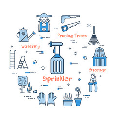 06 blue gardening - sprinkler vector