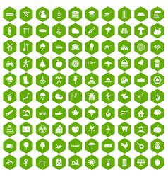 100 tree icons hexagon green vector
