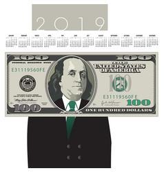 2019 one hundred dollar bill calendar with ben fra vector image