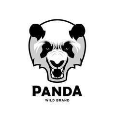 angry roaring panda head mascot character vector image