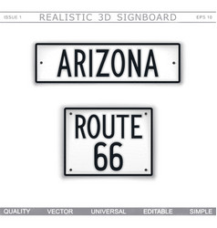 arizona route 66 creative 3d signboard vector image