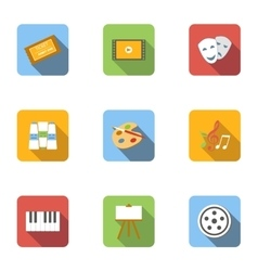 Art icons set flat style vector image