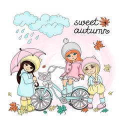 autumn children set vector image
