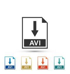 Avi file document icon download avi button icon vector