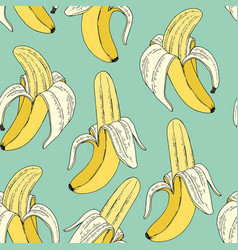 bananas on a mint background seamless pattern vector image