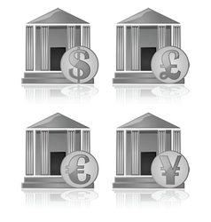 Bank and currency icons vector image