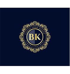 Bk initial letter gold calligraphic feminine vector