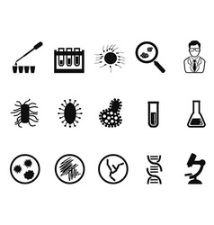Black microbiology icon set vector