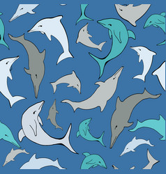 blue sea dolphins seamless pattern vector image