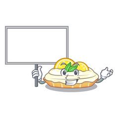 Bring board cartoon lemon cake with sugar powder vector