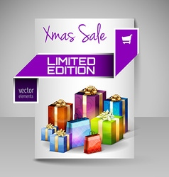 Brochure design template with purple christmas vector