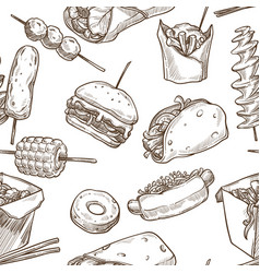 burrito and hot dog with corn on stick seamless vector image