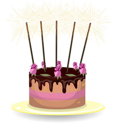 Cake with roses and sparklers vector