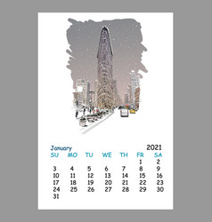 Calendar sheet new york january month 2021 year vector