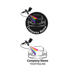 car painting logo with spray gun and unique vector image