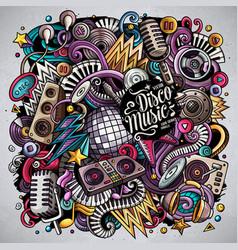 Cartoon doodles disco music vector