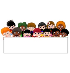 Cartoon kids holding a sign vector image
