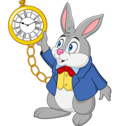 Cartoon rabbit holding watch vector