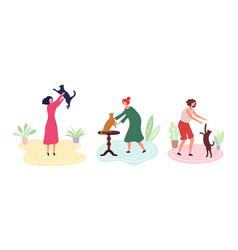 cat lovers women with kittens animal care vector image