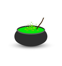 Cauldron of boiling green potion for halloween vector