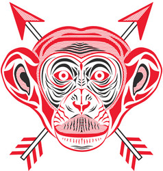chimpanzee head in pop art style vector image