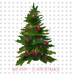 christmas tree card watercolor holiday vector image