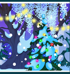 christmas tree with glowing garlands sample vector image