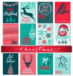 Collection of nine Christmas cards with hand drawn vector image