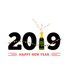 congratulations to the happy new 2019 year with a vector image