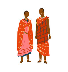 Couple in traditional maasai costume vector