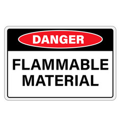 Danger flammable material sign label isolated on vector