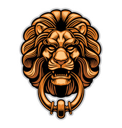 decoration of lion door knocker vector image