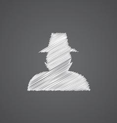 detective sketch logo doodle icon vector image