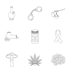 Drugs set icons in outline style Big collection vector
